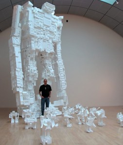 Artist Michael Salter with his Giant Styrofoam Robot